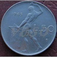 50 лир 1963R Италия КМ# 95.1 нержавеющая сталь