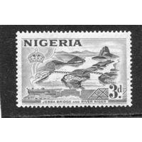 Нигерия. Британская колония. Железнодорожный мост и паровоз