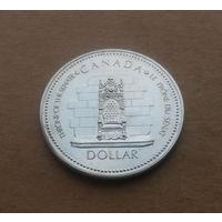 Канада, 1 доллар 1977 г., трон (серебряный юбилей королевы)