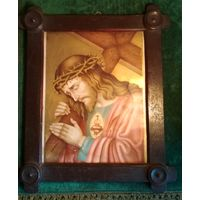 Старинный образ икона Христа в раме литография католический