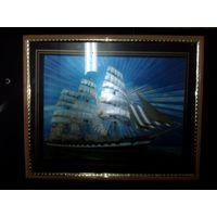 Картина парусник под стеклом, как будто объёмная и блестящая, можно на стену  можно на стол