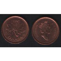 Канада _km490 1 цент 2003 год (тип-1.2) km490b старый портрет не магнит (f32)**