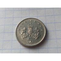 Великобритания 5 пенсов, 1990