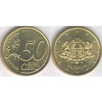 Латвия 50 евроцентов 2014 г. XF+