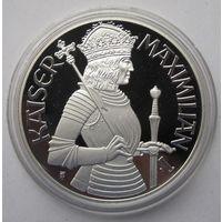 Австрия 100 шиллингов 1992 Максимилиан I - серебро 20 гр. 0,900