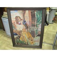 Старая(из 1950-х) картина-вышиванка в раме 59*44*3,5 см.
