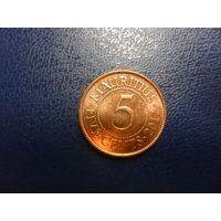 Маврикий 5 центов 2012 г.