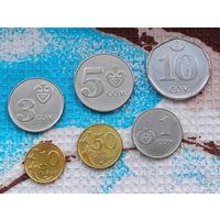 Киргизия набор монет 10, 50 тыин, 1, 3, 5, 10 сом, UNC.