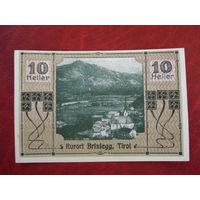 10 геллеров 1920 год Австрия курорт Брикслегг (Тироль)