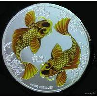 2 доллара 2012 Ниуэ Золотые рыбки цветная копия