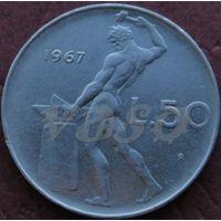 50 лир 1967R Италия КМ# 95.1 нержавеющая сталь