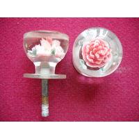 Комплект ручек дверные межкомнатные оргстекло Роза СССР