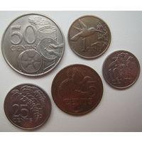Тринидад и Тобаго 1-5-10-25-50 центов 1977-1994 гг. Цена за все (u)