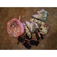 Роликовые коньки в комплекте для девушки(девочки). Регулируемый размер(35-38)