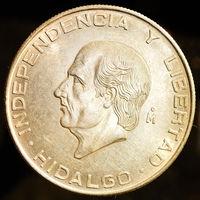 5 песо 1955 MEXICO Large SILVER 5 Pesos