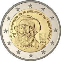 2 евро 2012 Франция 100 лет со дня рождения аббата Пьера UNC из ролла