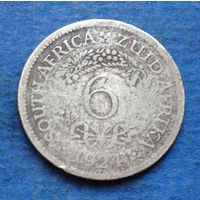 Южная Африка Британский доминион 6 пенсов 1924 Георг V Серебро