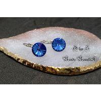 Серьги с риволи Swarovski Sapphire