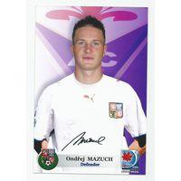Ondrej Mazuch(Fiorentina, Италия). Живой автограф на фотографии.
