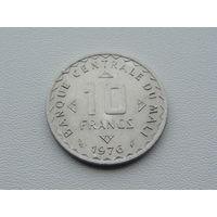 """Мали. 10 франков 1976 год  """"Рис""""  КМ#11"""