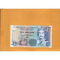 Великобритания  гернси  10 фунтов  1995г. унс