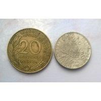 Сборный лот монет Франции 20 сантимов 1973 г.,1/2 франка 1985 г.