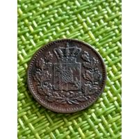 Германия Бавария 1 пфенниг 1866 г
