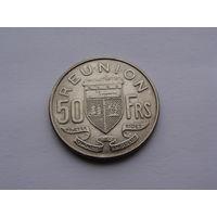 """Реюньон. """"Колония Франции""""  50 франков 1962 год KM#12"""