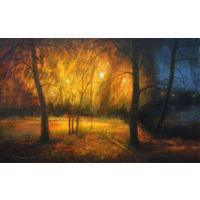 """Картина: """"Осенний парк около озера"""". Автор К. В. Мельник"""