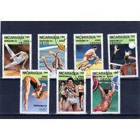 Никарагуа. Ми-2959,2960,2961,2962,2963,2964,29 65. Спорт. Гимнастика,Водное поло,Борьба,Волейбол,Прыжки в воду,Легкая атлетика,Тяжелая атлетика. Олимпийские игры. Барселона-92.