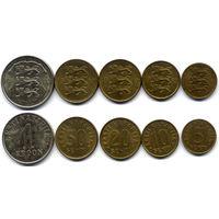 Лот монет Эстонии 1991-1993 гг. Всего 5 шт.