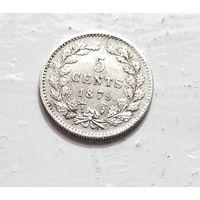 Нидерланды 5 центов, 1879 Ag 5-1-23