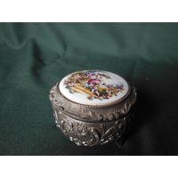 Шкатулка для украшений. Металл, керамика, бархат. Клеймо Japan