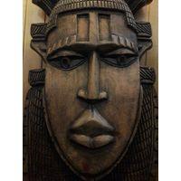 АФРИКА. Большое винтажное деревянное панно 77 см.