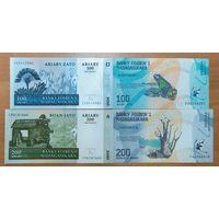 Набор банкнот 100,200 ариари - Мадагаскар - 4 шт - UNC