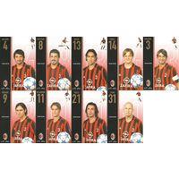 """""""Милан""""(Италия). Большие карточки игроков клуба(9шт.). Сезон 2005/2006."""