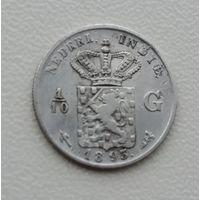 Голландская Ост Индия. 1/10 гульдена. 1893. Серебро.