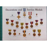 МЕДАЛИ . Decorations and Service Medals .30х24 см.