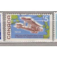 Авиация самолеты боковое поле без перфорации 50-летию первого беспосадочного трансатлантического полета Канада 1969 год лот 3
