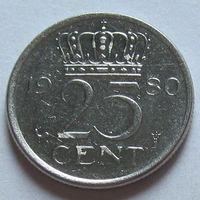 Нидерланды 25 центов 1980 г