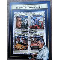 Сьерра Леоне 2016. 100 летняя годовщина Ферручио Ламборгини. Малый лист