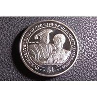 1 доллар 2003. Британские Виргинские острова (БВО). 400-летие жизни королевы Елизаветы I (1533–1603) – Генрих VIII и принцесса Елизавета.