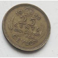 Цейлон 25 центов, 1945 4-4-15