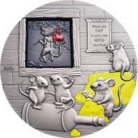 """Палау 10 долларов 2020г. """"Кот из дома – мыши в пляс. Басни и пословицы"""". Монета в капсуле; подарочном футляре; номерной сертификат; коробка. СЕРЕБРО 62,20гр.(2 oz)."""