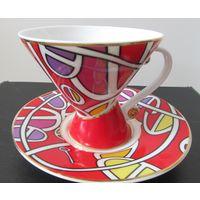 Красная с позолотой Чайная-Кофейная пара Кружка-Чашка с блюдцем Италия коллекция фарфор