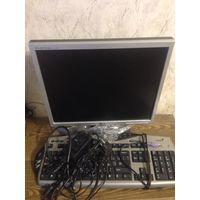 Монитор LG   L1750U c кабелями и клавиатурой