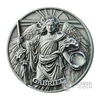"""Ниуэ 5 долларов 2017г. Вторая монета серии Хор ангелов: """"Архангел Гавриил"""". Монета в шикарном деревянном подарочном футляре; сертификат. СЕРЕБРО 62,27гр.(2 oz)."""