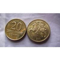 Литва 20 центов 2010 г.  распродажа