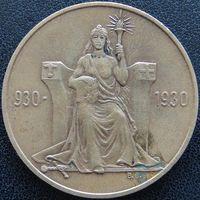 YS: Исландия, 2 кроны 1930, 1000-летие Альтинга - старейшего парламента в мире, бронза, 19,7 гр, X# M1, тираж 20101 экз., редкость