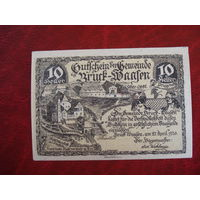 10 геллеров 1920 год Австрия Брюрф-Вэлен (с красной городской печатью!!!)